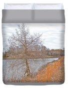 Winter Tree On Pond Shore Duvet Cover