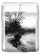 Winter Tree Reflection - Black And White Duvet Cover