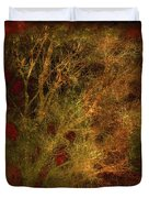 Winter Trees In Gold And Red Duvet Cover