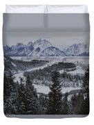 Winter View Of The Snake River, Grand Duvet Cover