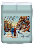 Winter Walk In Montreal Duvet Cover