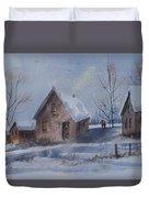 Winter Walk, Watercolor Painting Duvet Cover