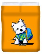 Winter Westie With Lime Duvet Cover