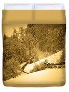 Winter Wonderland In Switzerland - Up The Hills Duvet Cover