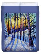 Winter Woodland Sunset Modern Impressionism Palette Knife Oil Painting Duvet Cover