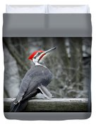 Winter Woodpecker Duvet Cover