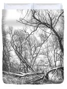 Winter Woods On A Stormy Day 2 Bw Duvet Cover