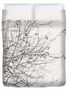 Winter's Berries In Black And White Duvet Cover