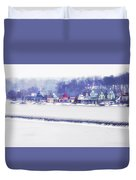 Wintertime At The Fairmount Dam And Boathouse Row Duvet Cover
