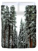Wintry Forest Drive Duvet Cover