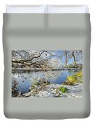 Wintry River At Newton Road Park Duvet Cover