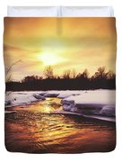 Wintry Sunset Reflections Duvet Cover