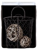 Wire Basket And Balls Still Life Duvet Cover