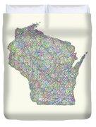 Wisconsin Line Art Map Duvet Cover