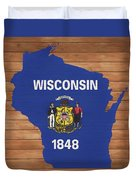 Wisconsin Rustic Map On Wood Duvet Cover