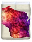 Wisconsin State Map 05 Duvet Cover