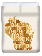 Wisconsin State Outline Word Map Duvet Cover