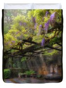 Wisteria Flowers Blooming On Trellis Over Water Fountain Duvet Cover