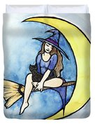 Witch And Moon Duvet Cover