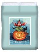 Witch In A Big Pumpkin Duvet Cover