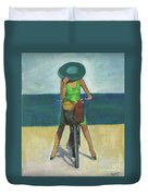 With Bike On The Beach Duvet Cover