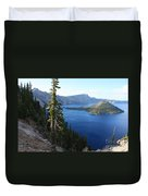 Wizard Island On Crater Lake Duvet Cover