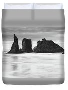 Wizard's Hat Sea Stack - Black And White Duvet Cover