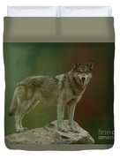Wolf 0n Look-out Duvet Cover