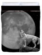 Wolf And Moon Duvet Cover