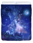 Wolf And Sky Blue 2 Duvet Cover