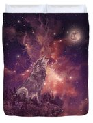 Wolf And Sky Red Duvet Cover