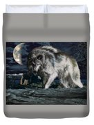 Wolf At Night Duvet Cover