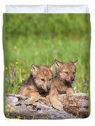 Wolf Cubs On Log Duvet Cover