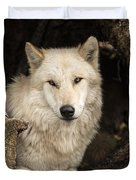 Wolf In A Log Duvet Cover