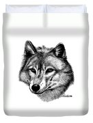 Wolf In Pencil Duvet Cover