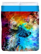 Wolf Playing With Butterflies Duvet Cover