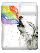 Wolf Rainbow Watercolor Duvet Cover