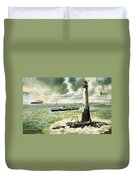 Wolf Rock Lighthouse At Land's End Duvet Cover