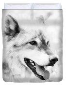 Wolf Smiling Black And White Duvet Cover
