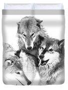 Wolf Triplets Duvet Cover