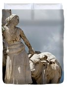 Woman And Bull, Marquis De Pombal Monument Duvet Cover