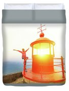Woman At Nazare Lighthouse Duvet Cover