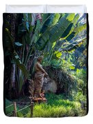 Woman At The Fountain Duvet Cover