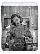 Woman Baking In Kitchen, C.1960s Duvet Cover