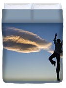 Woman Balancing On A Fence Post Duvet Cover