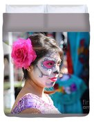 Woman Beautiful Day Of The Dead  Duvet Cover