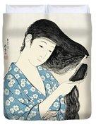 Woman Combing Her Hair Kami Sukeru Onna Duvet Cover