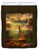 Woman Crossing The Sea On Stepping Stones Duvet Cover by Jill Battaglia