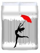Woman Dancing In The Rain With Red Umbrella Duvet Cover