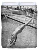 Woman Doing A Back Dive Duvet Cover